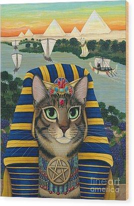 Egyptian Pharaoh Cat - King Of Pentacles Wood Print