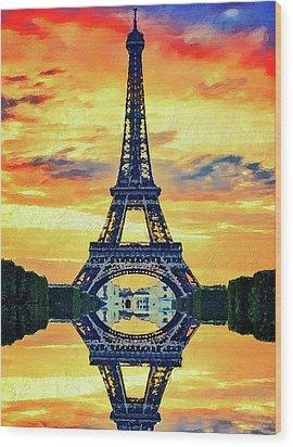 Eifel Tower In Paris Wood Print by PixBreak Art