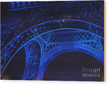 Eiffel Blue Wood Print