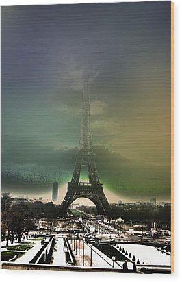 Eiffel Haze Wood Print by Menucha Citron