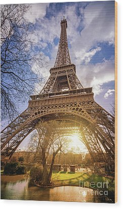 Wood Print featuring the photograph Eiffel Sunset by Delphimages Photo Creations