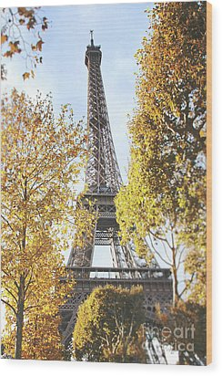 Wood Print featuring the photograph Eiffel Tower Amidst The Autumn Foliage by Ivy Ho