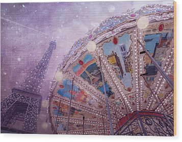 Wood Print featuring the photograph Eiffel Tower And Carousel by Clare Bambers