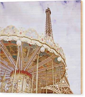 Wood Print featuring the photograph Eiffel Tower And Carousel by Ivy Ho