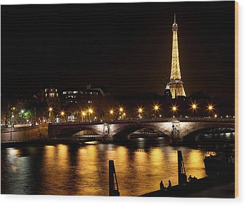 Wood Print featuring the photograph Eiffel Tower At Night 1 by Andrew Fare