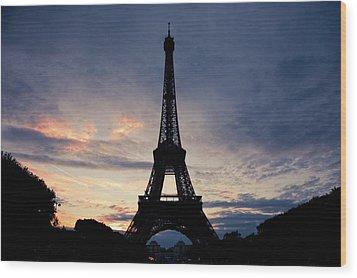 Eiffel Tower At Sunset, Paris, France Wood Print by Photo by rachel kara