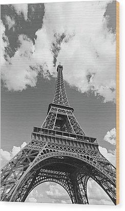 Eiffel Tower - Black And White Wood Print by Melanie Alexandra Price