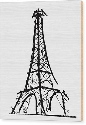 Eiffel Tower Black And White Wood Print by Robyn Saunders