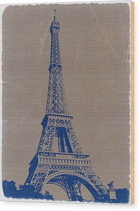 Eiffel Tower Blue Wood Print by Naxart Studio
