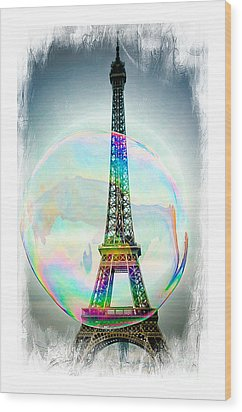 Eiffel Tower Bubble Wood Print by Lilliana Mendez