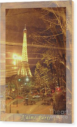 Eiffel Tower By Bus Tour Greeting Card Poster Wood Print