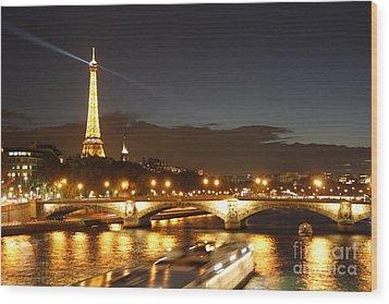 Eiffel Tower By Night Wood Print by Wilko Van de Kamp