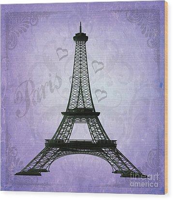 Eiffel Tower Collage Purple Wood Print