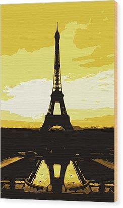 Eiffel Tower In Gold Wood Print by Nilla Haluska