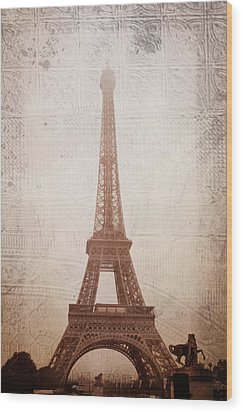 Wood Print featuring the digital art Eiffel Tower In The Mist by Christina Lihani