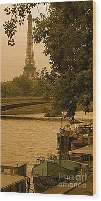 Eiffel Tower Wood Print by Louise Fahy