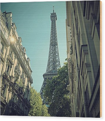 Eiffel Tower Wood Print by Louise LeGresley