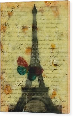 Wood Print featuring the painting Eiffel Tower Memory Encaustic by Bellesouth Studio