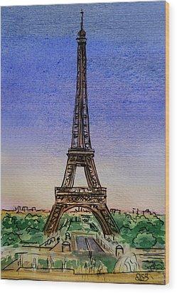 Eiffel Tower Paris France Wood Print by Irina Sztukowski