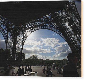 Eiffel Tower Sky Wood Print by Rosie Brown