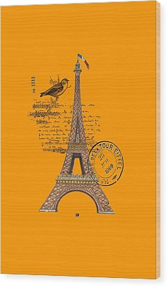 Wood Print featuring the digital art Eiffel Tower T Shirt Design by Bellesouth Studio
