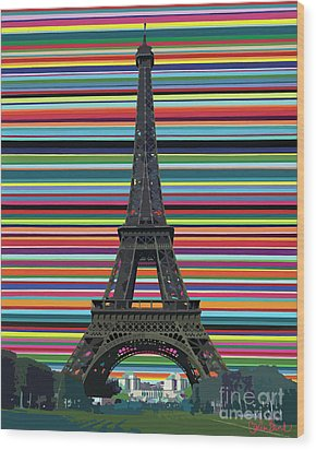 Wood Print featuring the painting Eiffel Tower With Lines by Carla Bank