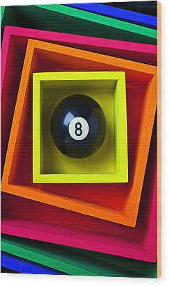 Eight Ball In Box Wood Print by Garry Gay