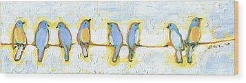Eight Little Bluebirds Wood Print by Jennifer Lommers