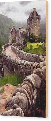 Wood Print featuring the painting Eilean Donan Castle by James Shepherd
