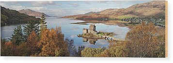 Wood Print featuring the photograph Eilean Donan Castle Panorama In Autumn by Grant Glendinning
