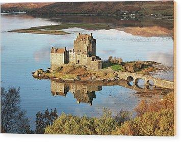 Wood Print featuring the photograph Eilean Donan - Loch Duich Reflection - Skye And Lochalsh by Grant Glendinning