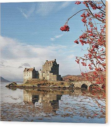 Wood Print featuring the photograph Eilean Donan - Loch Duich Reflection - Skye by Grant Glendinning