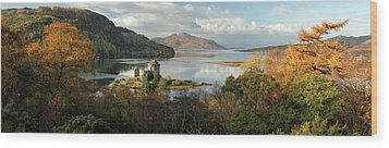 Wood Print featuring the photograph Eilean Donan Panorama - Autumn by Grant Glendinning