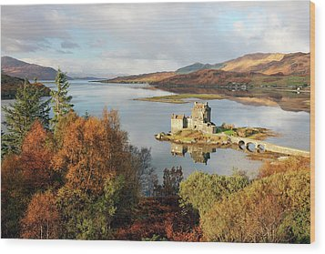 Wood Print featuring the photograph Eilean Donan Reflection In Autumn by Grant Glendinning