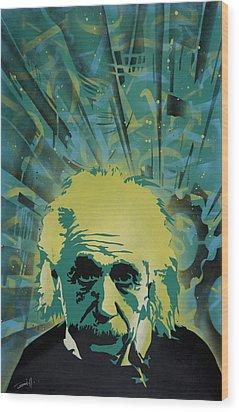 Einstein Wood Print by Tai Taeoalii