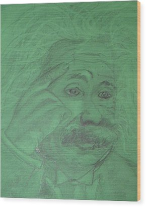 Einstein Wood Print by Manuela Constantin