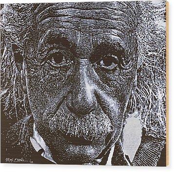 Einstein Wood Print by Max Eberle