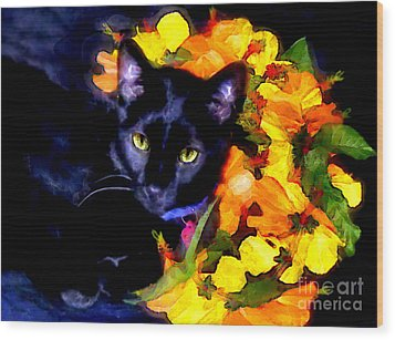 Wood Print featuring the painting Einstein The Cat by Elinor Mavor