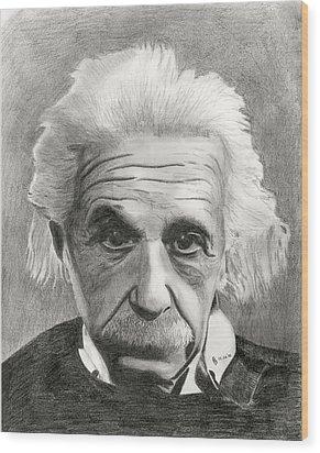 Einstein's Eyes Wood Print by Charles Vogan
