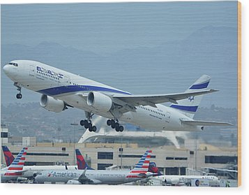 Wood Print featuring the photograph El Al Boeing 777-258er 4x-ece Los Angeles International Airport May 3 2016 by Brian Lockett