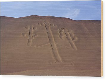 Wood Print featuring the photograph El Candelabro Peru by Aidan Moran