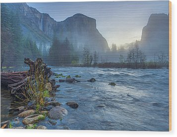 Wood Print featuring the photograph El Capitan Merced River Dawn by Scott McGuire