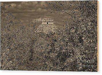 Wood Print featuring the photograph El Castillo Rising by Nigel Fletcher-Jones