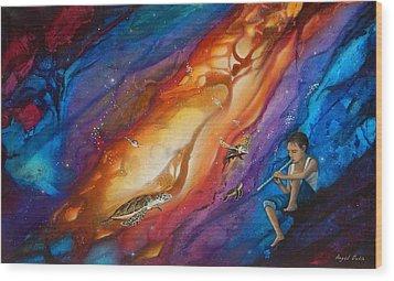 El Flautista Wood Print by Angel Ortiz