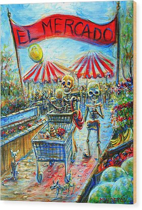 Wood Print featuring the painting El Mercado by Heather Calderon