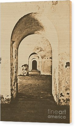 El Morro Fort Barracks Arched Doorways Vertical San Juan Puerto Rico Prints Rustic Wood Print by Shawn O'Brien
