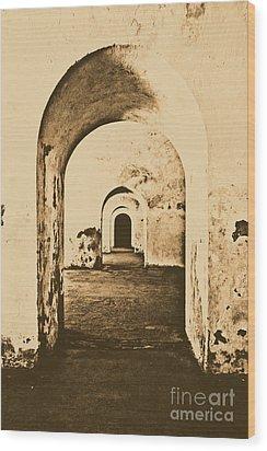 El Morro Fort Barracks Arched Doorways Vertical San Juan Puerto Rico Prints Rustic Wood Print by Shawn O'Brien