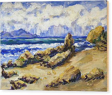El Pescador Beach Storm Coming In Wood Print by Randy Sprout