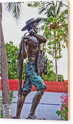 Wood Print featuring the photograph El Pescador by Jim Walls PhotoArtist