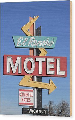 El Rancho Motel Stockton Ca Wood Print by Troy Montemayor